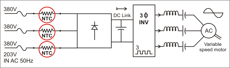 Inrush Current Variable Frequency Drive Schematic
