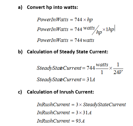 Calculate DC Motor Inrush Current