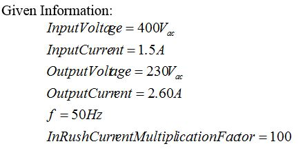 Given values for this calculation
