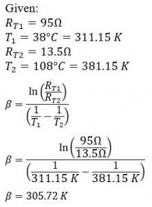 Example NTC Thermistor Beta Calculation