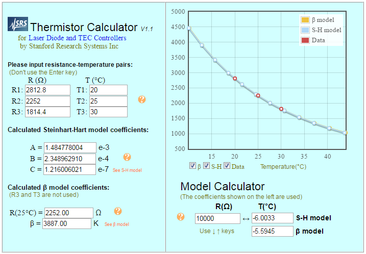 SRS Thermistor Calculator