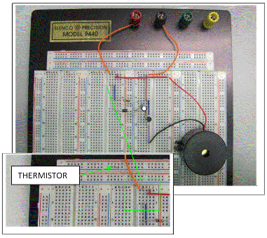 Breadboard with thermistor for Fire Alarm Detection Circuit