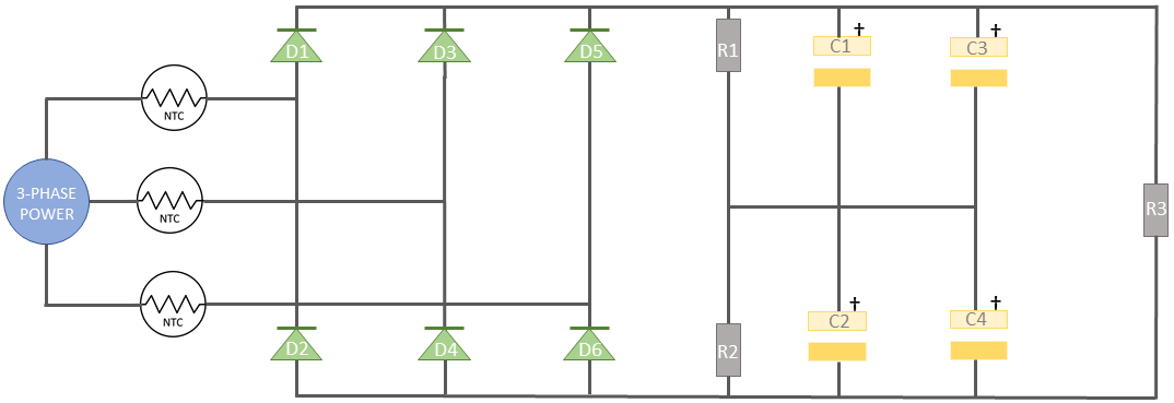 Schematic example of three phase power